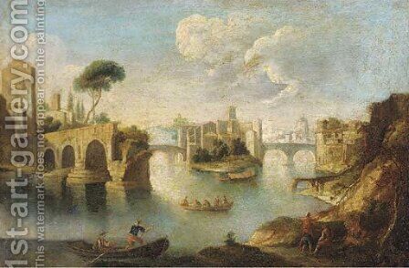 The Tiber, Rome, looking north past the ruins of the Pons Aemilius to the Insula Tiberina by (after) Paolo Anesi - Reproduction Oil Painting