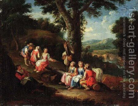Children playing a game of see-saw by (after) Paolo Monaldi - Reproduction Oil Painting