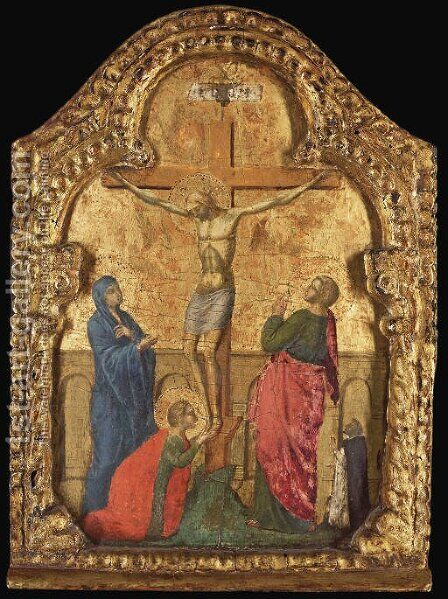 The Crucifixion with a Dominican friar by (after) Paolo Veneziano - Reproduction Oil Painting