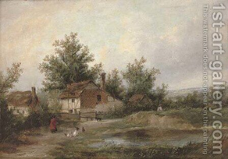 Figures and country cottages beside a pool by (after) Patrick Nasmyth - Reproduction Oil Painting