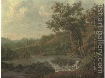 Ruins beside a lake by (after) Patrick Nasmyth - Reproduction Oil Painting
