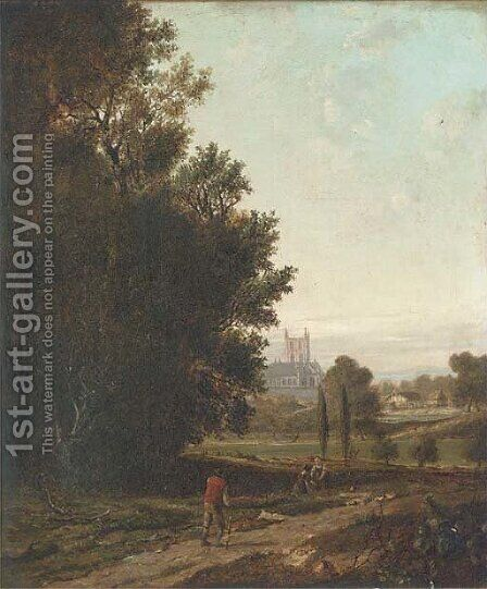 St. Alban's Priory, Hertfordshire by (after) Patrick Nasmyth - Reproduction Oil Painting