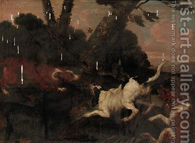 Hounds chasing a hare in a wooded landscape by (after) Paul De Vos - Reproduction Oil Painting