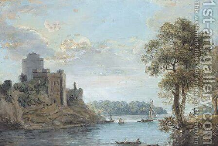 A lazy day on the estuary below a ruined castle by (after) Paul Sandby - Reproduction Oil Painting
