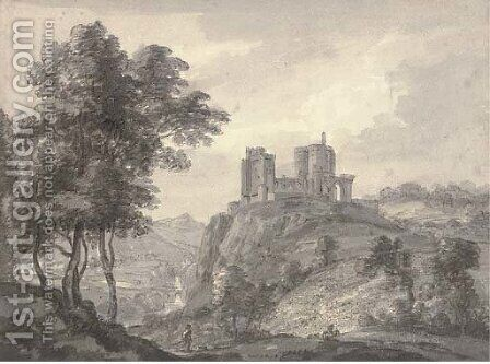 View of a ruined castle by (after) Paul Sandby - Reproduction Oil Painting
