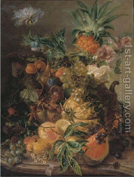 Peaches, plums, grapes, lemons, a melon, a pineapple and rosehips on a stone ledge with a bee by (after) Paul-Theodor Van Brussel - Reproduction Oil Painting