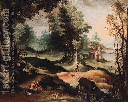 A landscape with the Rest on the Flight into Egypt by (after) Paolo Fiammingo - Reproduction Oil Painting