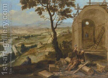 An extensive river landscape with a monk constructing a church by (after) Paolo Fiammingo - Reproduction Oil Painting