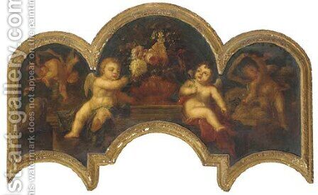 Putti with an urn of flowers on a ledge by (after) Peter Casteels - Reproduction Oil Painting