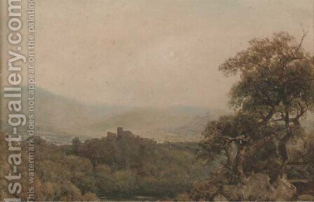View towards a hilltop castle by (after) Peter De Wint - Reproduction Oil Painting