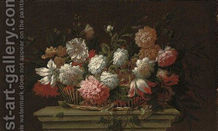 Carnations, chrysanthemums, roses, a parrot tulip and other flowers in a basket on a ledge by (after) Pieter Hardime - Reproduction Oil Painting