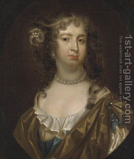 Portrait of a lady, possibly Barbara Villiers, Countess of Castlemaine by (after) Sir Peter Lely - Reproduction Oil Painting