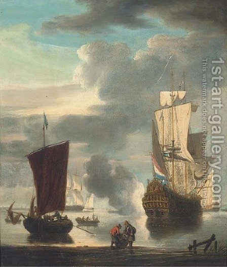 A Dutch man-o'war signalling its departure from the anchorage by (after) Peter Monamy - Reproduction Oil Painting