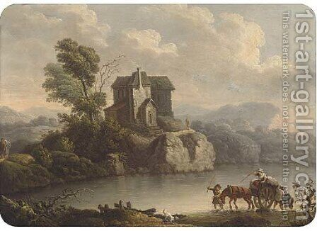 Crossing the river by (after) Philip Jacques De Loutherbourg - Reproduction Oil Painting