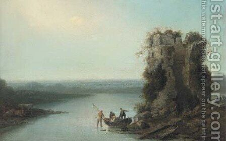 Fishermen in a boat before a tower ruin, in an extensive landscape by (after) Loutherbourg, Philippe de - Reproduction Oil Painting