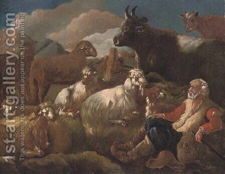 A shepherd resting with his cattle in a mountainous landscape by (after) Philipp Peter Roos - Reproduction Oil Painting