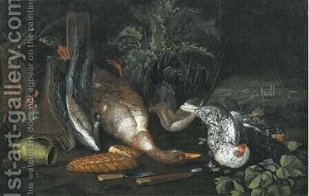 A partridge, a dead duck, a pitcher, two knives, a loaf of bread and hens, on a forest floor by (after) Ferdinand Phillip De Hamilton - Reproduction Oil Painting