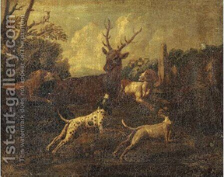 Dogs chasing a stag in a landscape, a town beyond by (after) Ferdinand Phillip De Hamilton - Reproduction Oil Painting