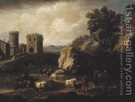 A shepherd with a horse, goats and cattle by a bridge in an Italianate landscape by (after) Philipp Peter Roos - Reproduction Oil Painting
