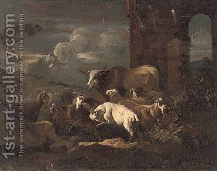An evening landscape with a flock of goats and a bull, by classical ruins by (after) Philipp Peter Roos - Reproduction Oil Painting