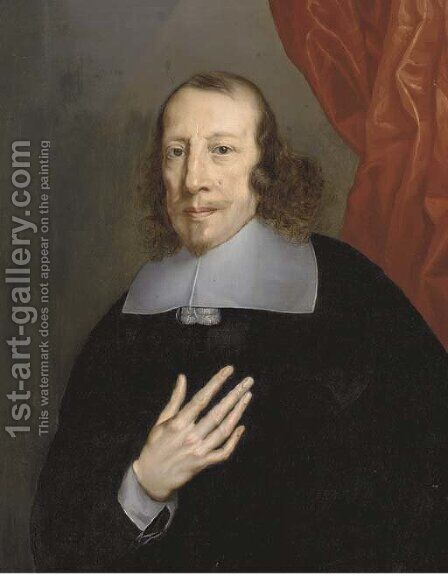 Portrait of a cleric by (after) Philippe De Champaigne - Reproduction Oil Painting