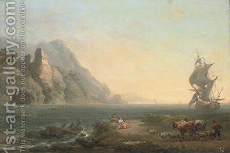 A rocky coastal landscape with fishermen and drovers in the foreground, a ship beyond by (after) Loutherbourg, Philippe de - Reproduction Oil Painting