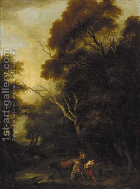 A wooded landscape with drovers at a ford by (after) Philip Jacques De Loutherbourg - Reproduction Oil Painting