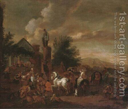 A hawking party at rest by an inn by (after) Philips Wouwerman - Reproduction Oil Painting