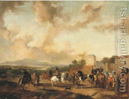 A riding school in an Italianate landscape by (after) Philips Wouwerman - Reproduction Oil Painting