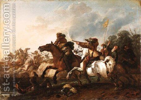 A Cavalry Engagement by (after) Philips Wouwerman - Reproduction Oil Painting