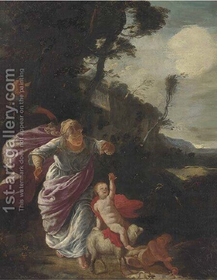 The Rest on the Flight into Egypt by (after) Pier Francesco Mola - Reproduction Oil Painting