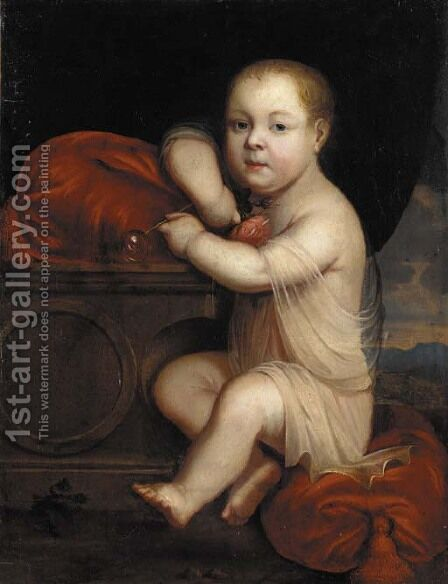 Portrait of a child, full-length, wearing a chiton, blowing a soap bubble and holding a pink rose in his right hand by (after) Mignard, Pierre II - Reproduction Oil Painting