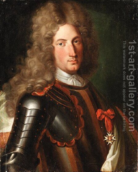 Portrait of a nobleman, said to be Marechal Tourrain, bust-length, in armour, wearing a lace cravat, a wig and the star of the Order of the Garter by (after) Mignard, Pierre II - Reproduction Oil Painting