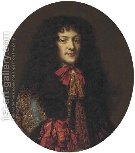 Portrait of the Duke of Monmouth (1649-1685), bust-length, in an embroidered coat and cravat by (after) Mignard, Pierre II - Reproduction Oil Painting