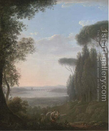 A wooded hilltop landscape with figures in the foreground, a bridge over a lake beyond by (after) Pierre-Henri De Valenciennes - Reproduction Oil Painting
