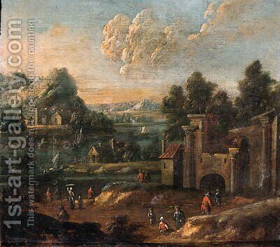 Travellers on a path by a ruined castle by (after) Pieter Bout - Reproduction Oil Painting