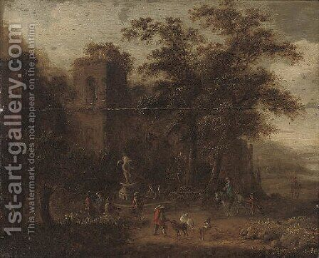 A wooded landscape with shepherds conversing by a fountain, classical ruins beyond by (after) Pieter Bout - Reproduction Oil Painting