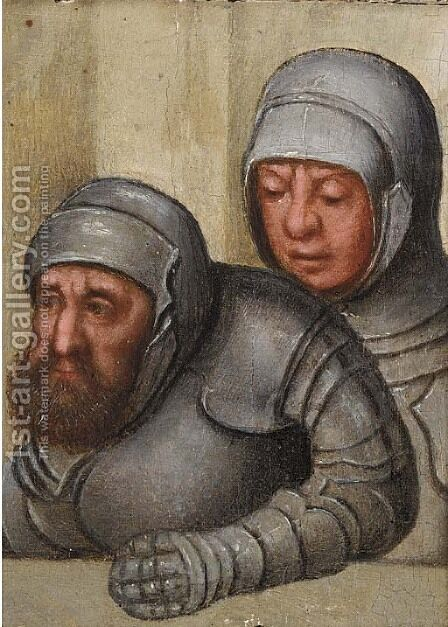 Two men in armour a fragment by (after) Pieter The Younger Brueghel - Reproduction Oil Painting