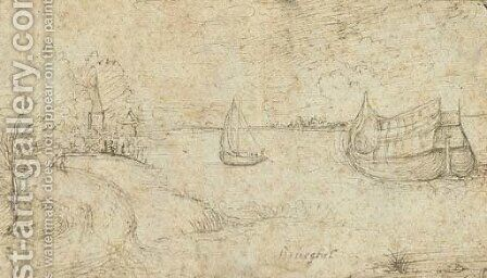 Two ships on a broad estuary, figures on a path in the left foreground by (after) Pieter The Elder Bruegel - Reproduction Oil Painting