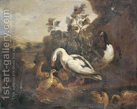 Ducks and a goose in a landscape by (after) Pieter Casteels III - Reproduction Oil Painting