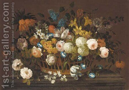Lillies, tulips, roses, hydrangea, lilac, chrysanthemums, and other flowers in a basket, on a marble plinth by (after) Pieter Casteels III - Reproduction Oil Painting