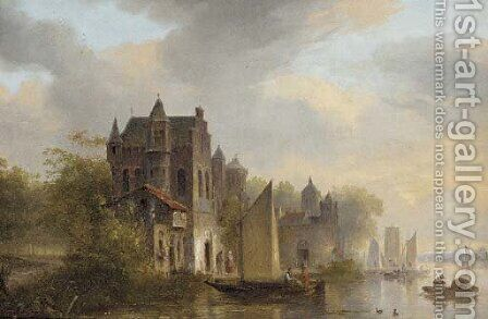 A busy day on a Dutch river by (after) Pieter Christian Dommersen - Reproduction Oil Painting