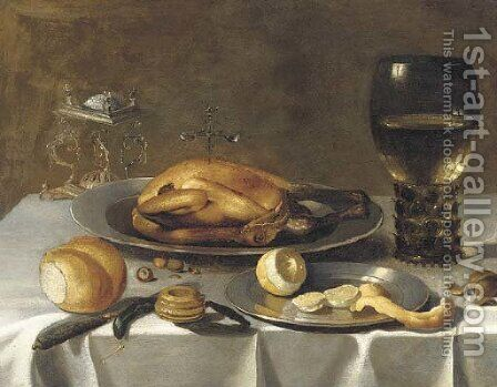 A roemer of wine, a turkey and a partly-peeled lemon on pewter dishes, bread and hazelnuts on a draped table by (after) Pieter Claesz - Reproduction Oil Painting