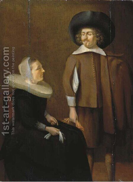 An elegant couple in an interior by (after) Pieter Codde - Reproduction Oil Painting