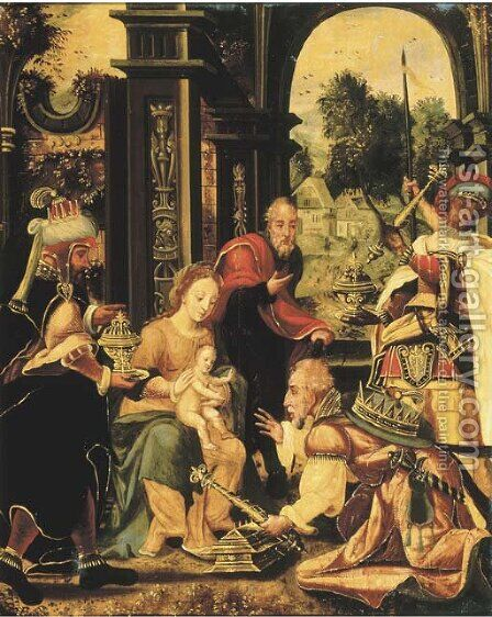 The Adoration of the Magi 2 by (after) Pieter Coecke Van Aelst - Reproduction Oil Painting