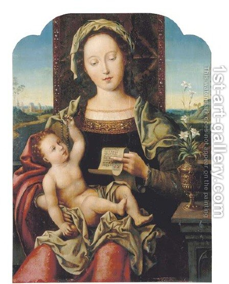 The Virgin and Child Enthroned by (after) Pieter Coecke Van Aelst - Reproduction Oil Painting