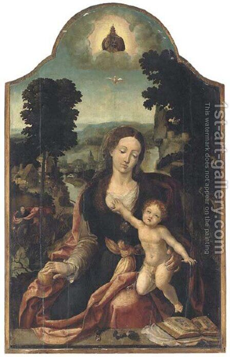 The Virgin and Child in an extensive river landscape by (after) Pieter Coecke Van Aelst - Reproduction Oil Painting