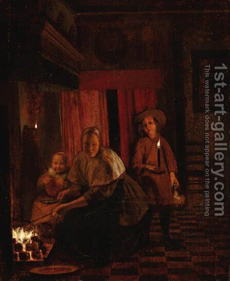An interior with a mother and child by (after) Pieter De Hooch - Reproduction Oil Painting