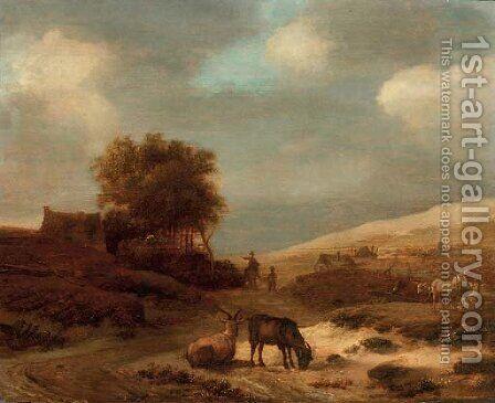 A dune landscape with goats and sheep, travellers on a track and cottages beyond by (after) Pieter De Molijn - Reproduction Oil Painting