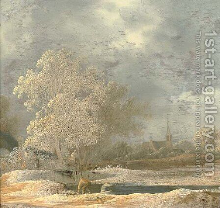 A river landscape with anglers on a river bank, a church beyond by (after) Pieter De Molijn - Reproduction Oil Painting
